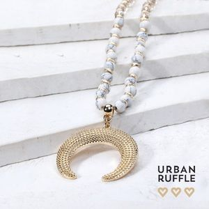 Gold Crescent and Natural Stone Bead Necklace